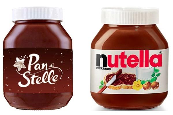 Due barattoli uno di crema spalmabile pan di stelle l'altro di nutella