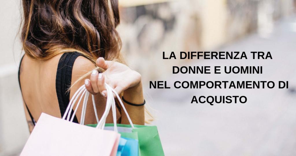 donna intenta a fare shopping e la scritta differenza tra donne e uomini nel comportamento di acquisto