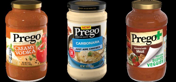 Condimenti per la pasta del brand Prego con nomi Italian Sounding