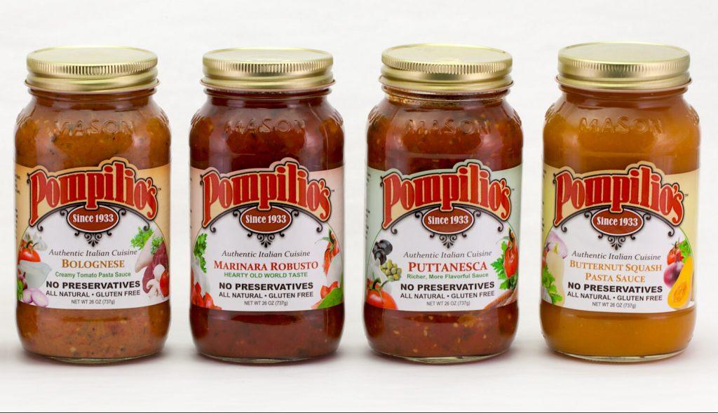 Condimenti per la pasta del brand Pompilios con nomi Italian Sounding