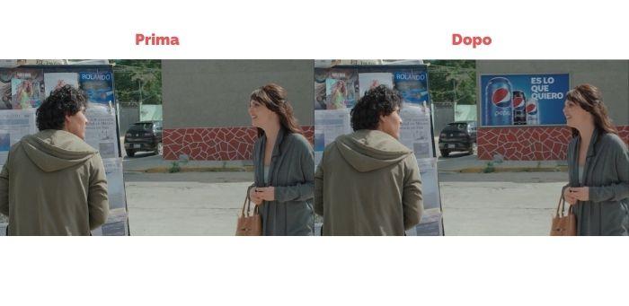 """L'immagine mostra il prima e dopo di una scena dello show """"El Dragón"""". Nella prima foto i protagonisti parlano davanti ad un muro vuoto. Nella seconda, su quello stesso muro viene aggiunto attraverso il virtual product placement un cartellone pubblicitario del brand Pepsi. Fonte ed elaborazione immagine: Marketing Ignorante"""