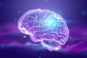 Cervello trasparente e luminoso che fluttua su sfondo viola. Fonte: Marketing Ignorante