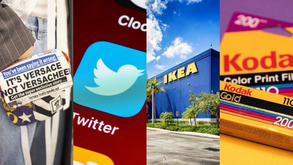 Foto rappresentativa di 4 brand: Versace, Twitter, Ikea, Kodak. Fonte: Marketing Ignorante