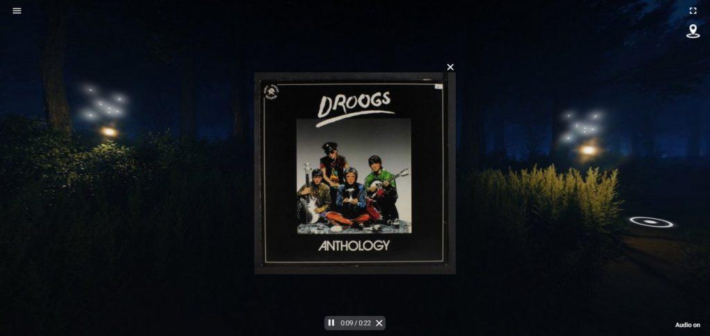 """Copertina dell'album """"Anthology"""" dei Droogs che compare durante il percorso di Exuvia Experience."""