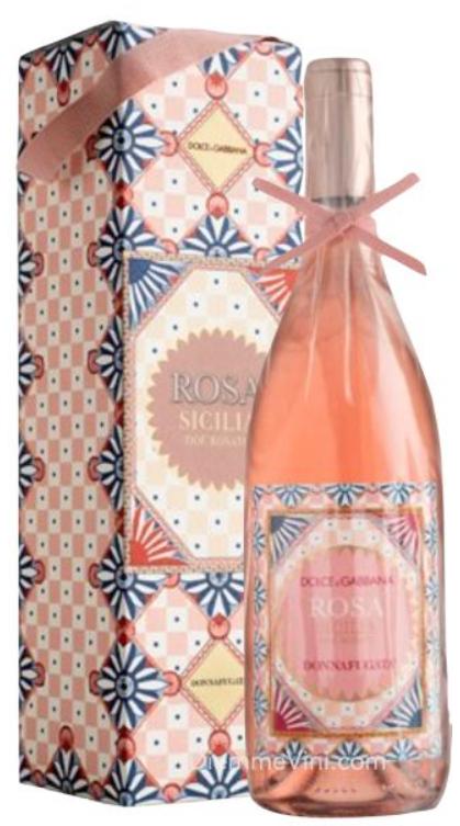 Bottiglia di Rosa Donnafugata targata Dolce&Gabbana. I colori rimandano al l bouquet di gelsomino, di fragolina di bosco e pesca
