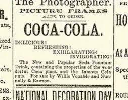 La prima pubblicità di Coca-Cola appare nel quotidiano The Atlanta Journal il 29 maggio del 1886