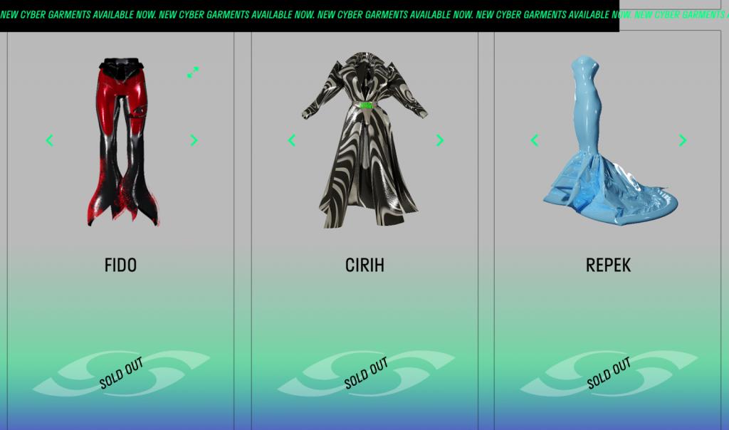 L'immagine mostra alcuni dei capi realizzati dal marchio Tribute Brand: il primo un patalone rosso e nero; il secondo una giacca lunga nera e bianca ; il terzo un vestiro lungo azzurro. Tutti sold out!