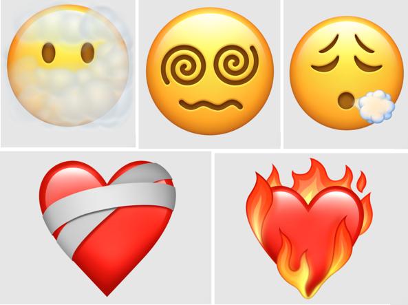 Nuove emoji create nel 2021, tra cui il cuore in fiamme, il cuore fasciato e la faccina tra le nuvole. fonte: https://www.corriere.it/tecnologia/cards/nuove-emoji-arrivo-iphone-cuore-fiamme-testa-le-nuvole/nuove-emoji-arrivo-primavera_principale.shtml