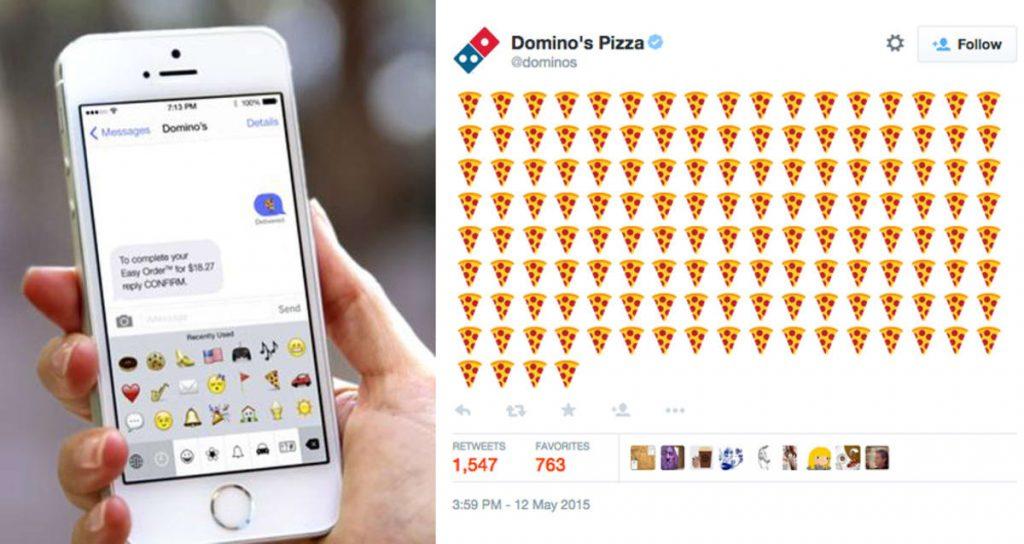 Messaggio per usufruire del servizio di Domino's Pizza. L'immagine mostra la risposta della catena di pizzerie che conferma l'ordine..