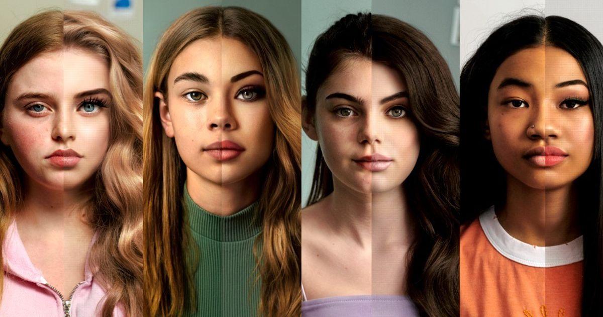 Body positive del brand Dove che con la campagna reverse selfie mostra il prima ed il dopo delle foto di alcune adolescenti con e senza filtri.