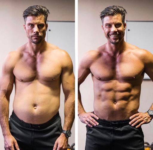 """Foto del fitness influencer Sam Wood che incoraggia anche gli uomini ad amare il loro corpo. La foto mostra un """"prima"""" di un fisico con qualche chilo in più ed un """"dopo"""" con un fisico atletico. La foto è stata ritoccata."""