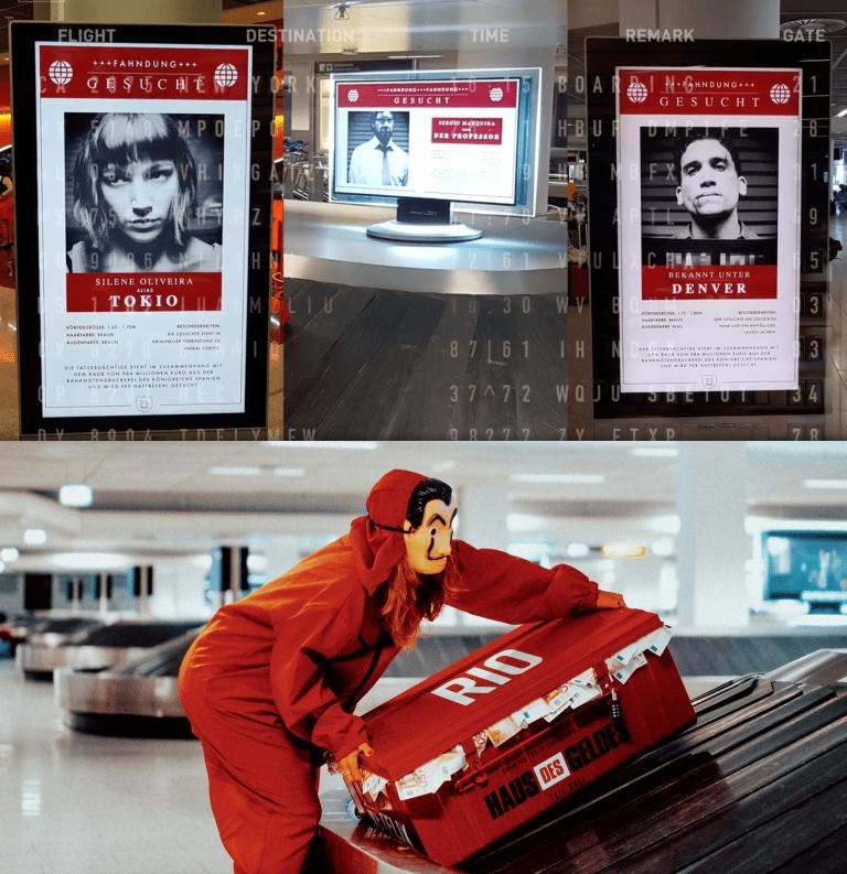 """Netflix promuove """"La Casa di Carta"""" a all'Aeroporto di Francoforte con dei bauli rossi pieni di banconote false"""