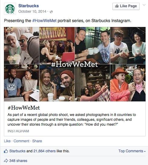 """Post Facebook di Starbucks per la campagna di marketing """"#HowWeMet"""""""