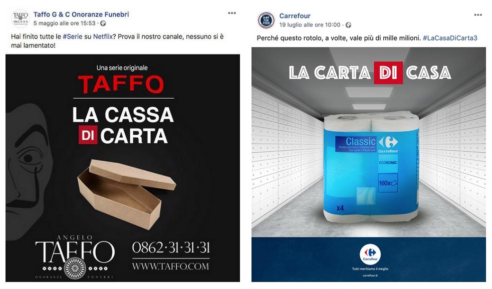 """Real Time Marketing di Taffo e Carrefour per """"La Casa di Carta"""""""
